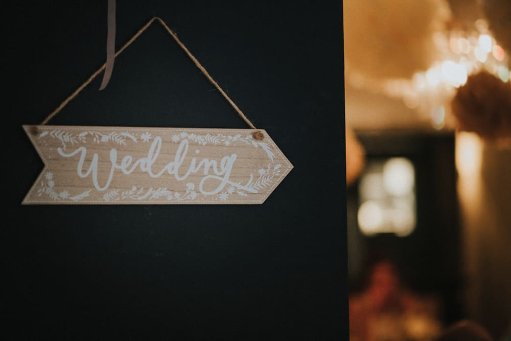 Directional sign for wedding