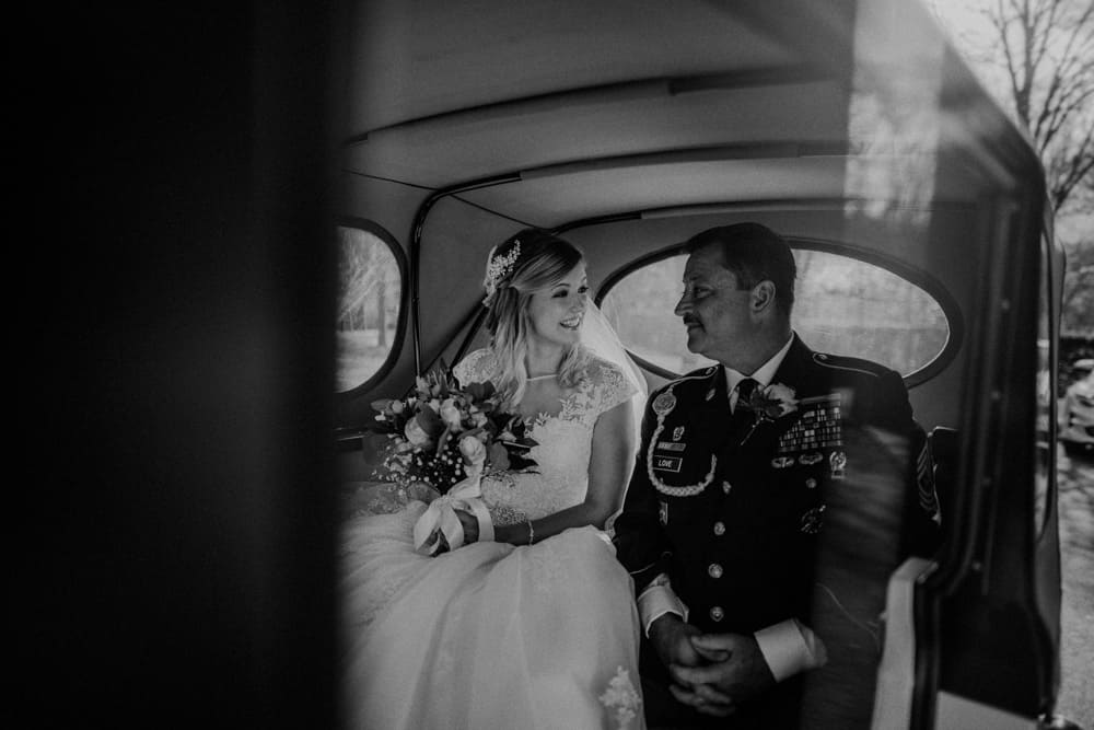 Bride and Father arrive at Ashton Memorial in Lancaster ready for the wedding