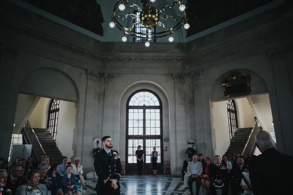 Groom awaits the arrival of his Bride at the Ashton Memorial in Lancaster
