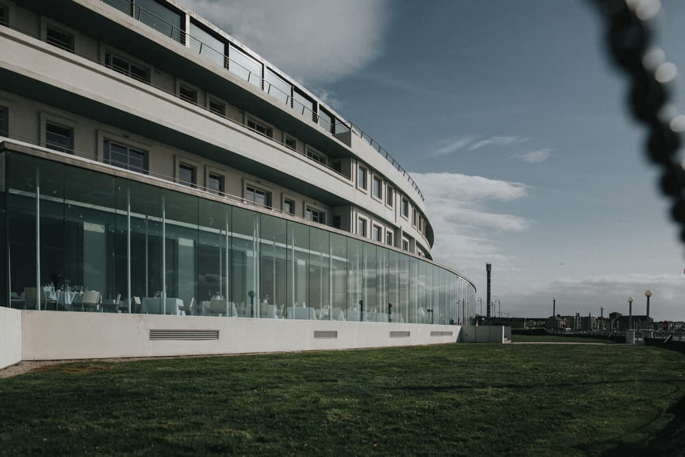 The Midland Hotel in Morecambe in the sunshine, image taken from outside