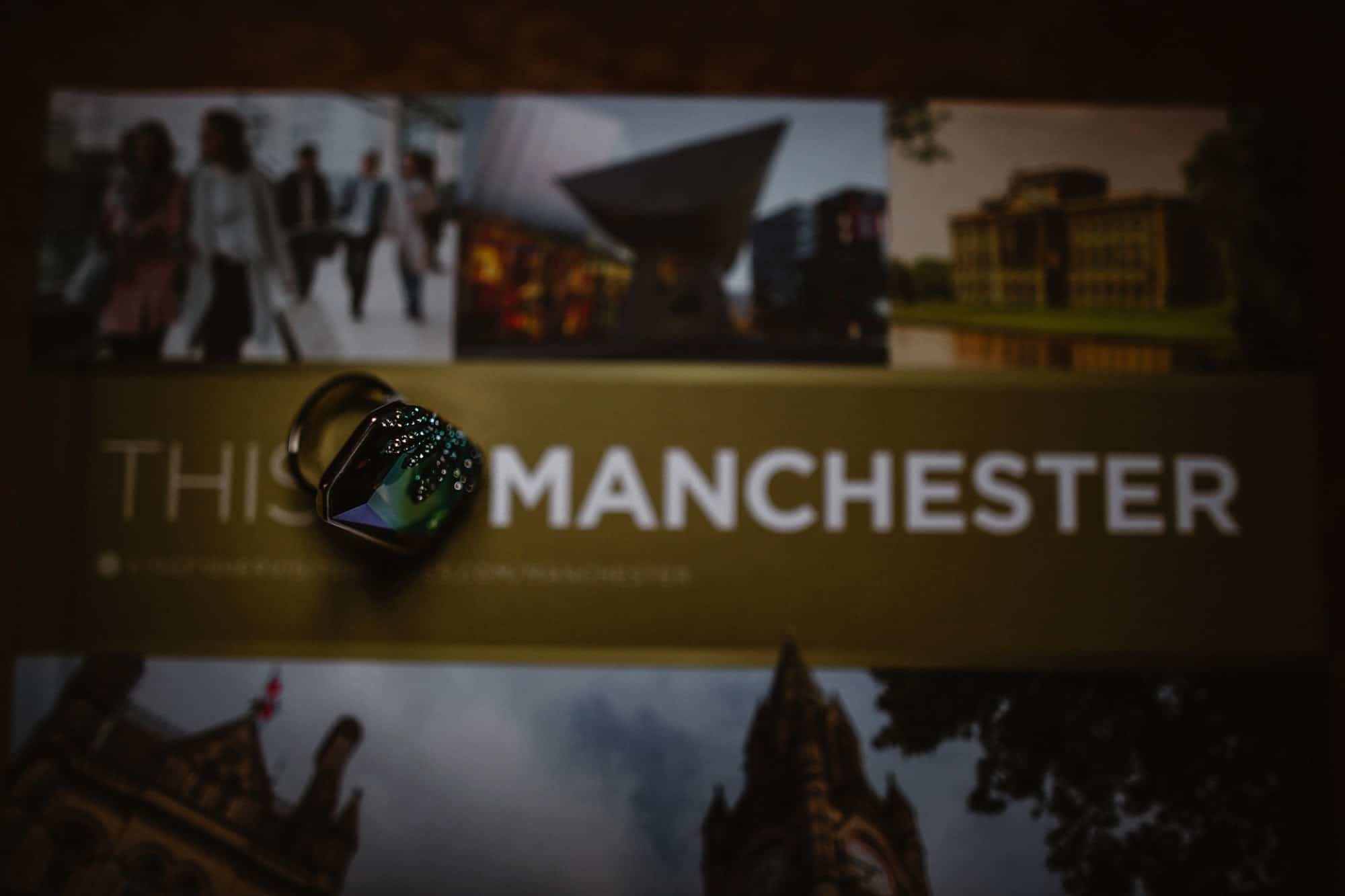 Swarovski Giselle ring on a book all about Manchester