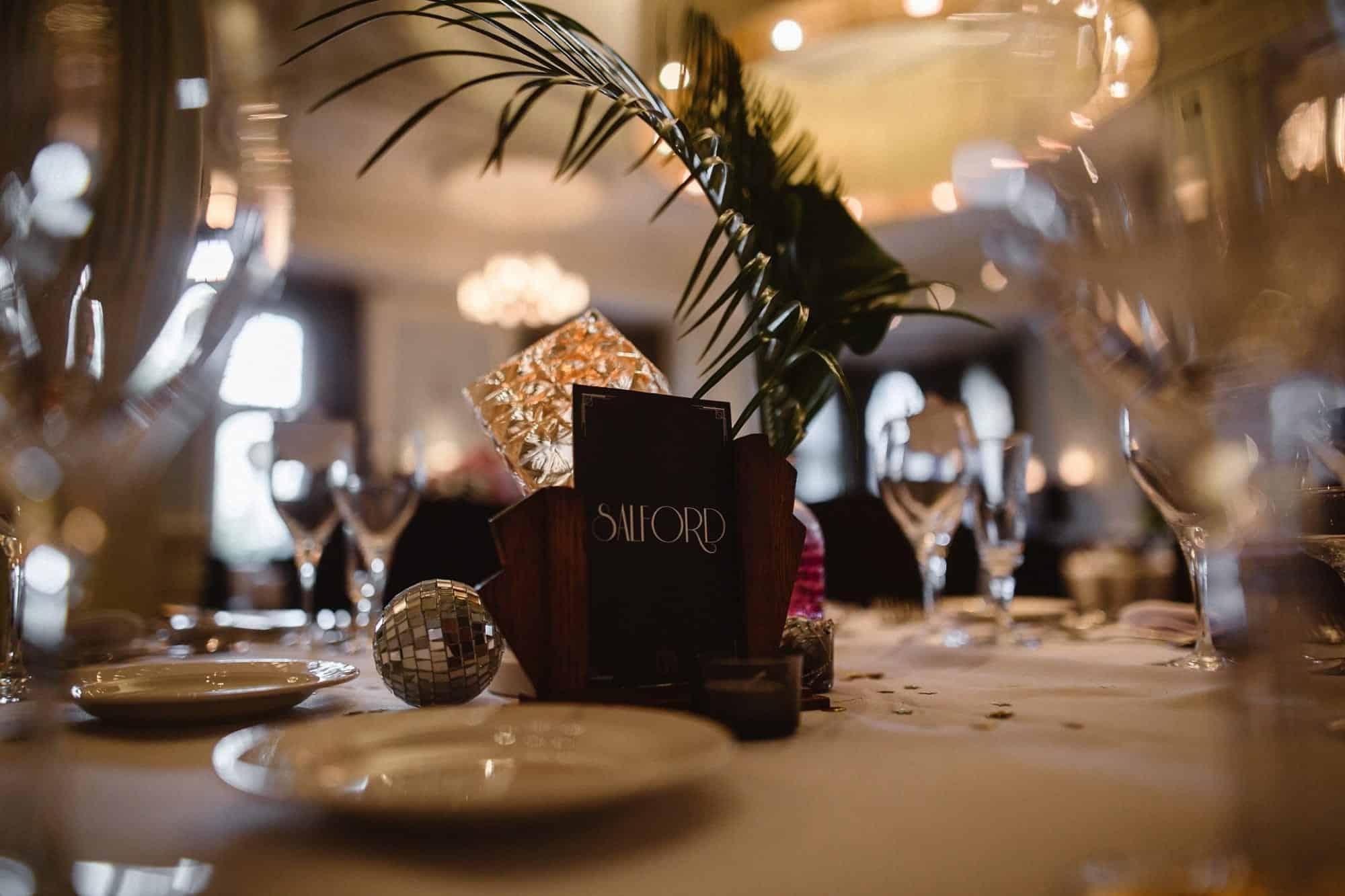 Art Deco wedding breakfast tables