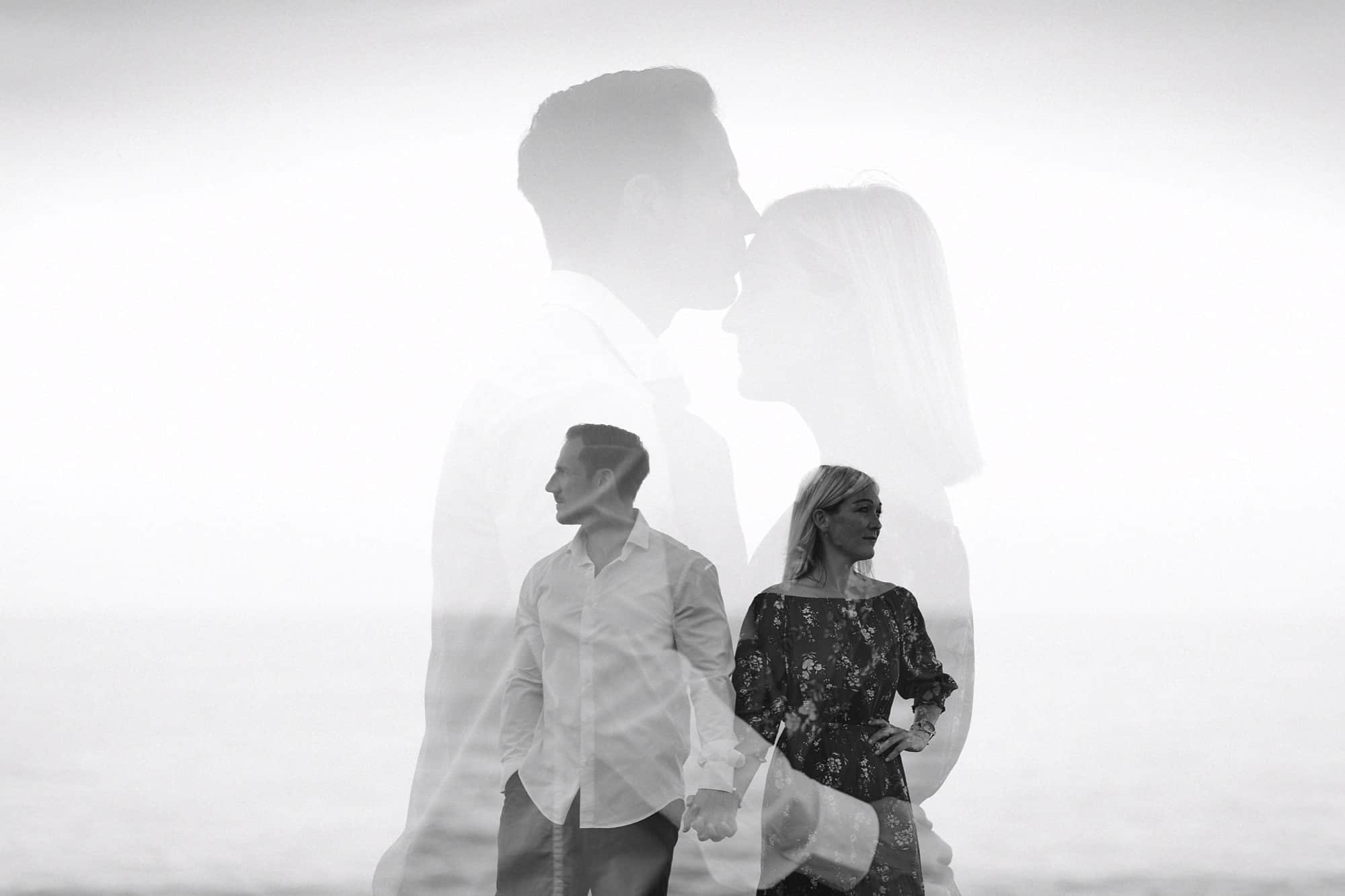 Double exposure of couple on the rocks of Algar Seco, Faro, Portugal