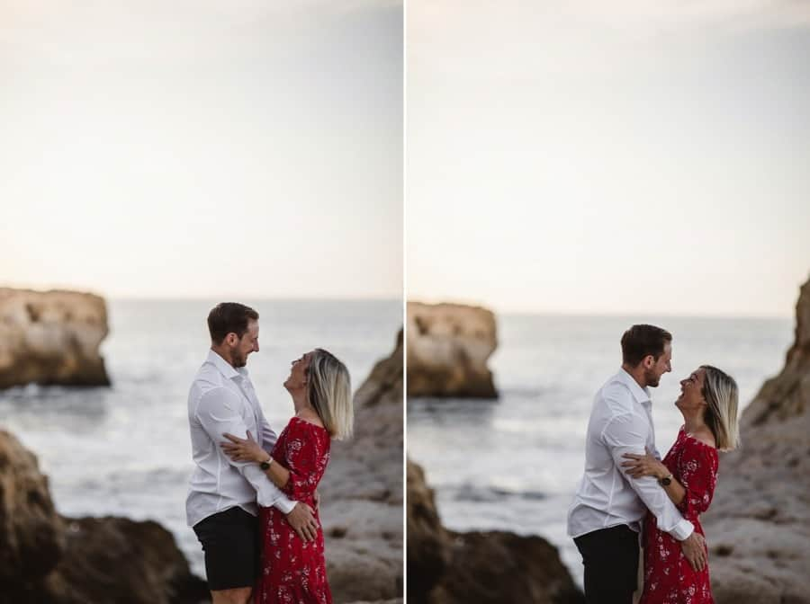 Couple laughing during their engagement shoot at Algar Seco, Portugal