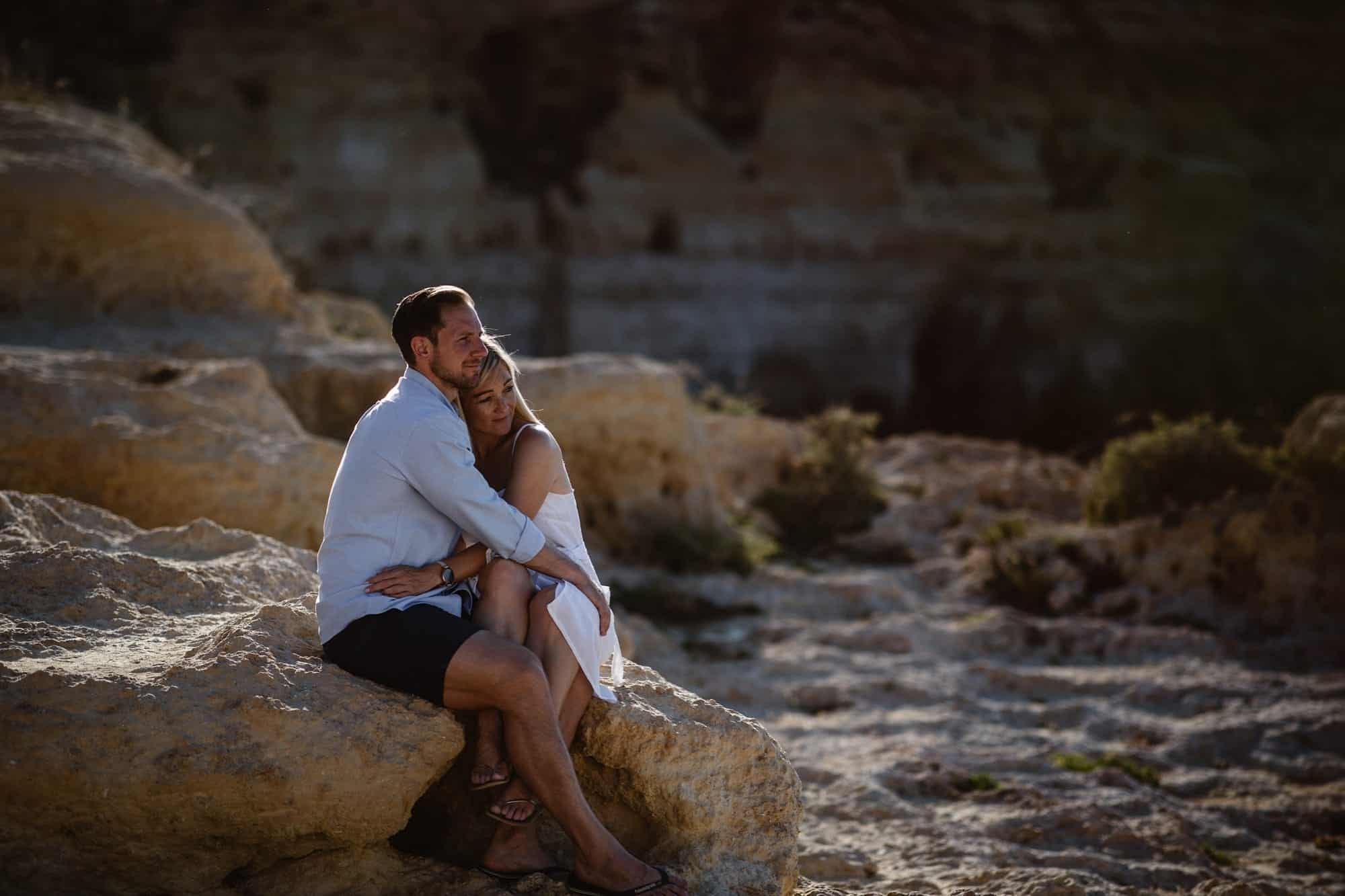 Engagement shoot of Couple on the cliff tops of Algar Seco in Carvoeiro, Portugal