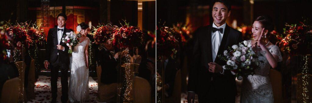 Bride & Groom entering their JW Marriot Hotel wedding reception in Hong Kong